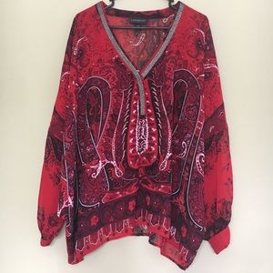 Lane Bryant Red Black Paisley Chain Dolman